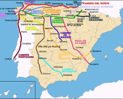 16 routes leads to Santiago de Compostela